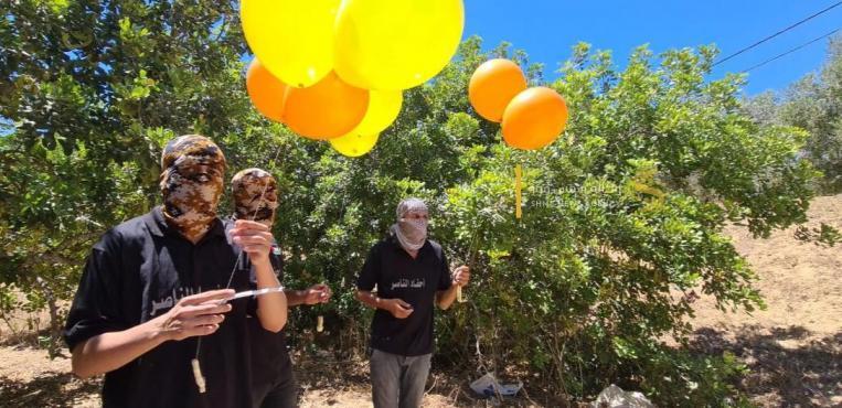 """وحدات البالونات الحارقة تواصل إمطار مستوطنات """"غلاف غزة"""""""